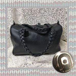 Nila Anthony Black Satchel Faux Leather Bag